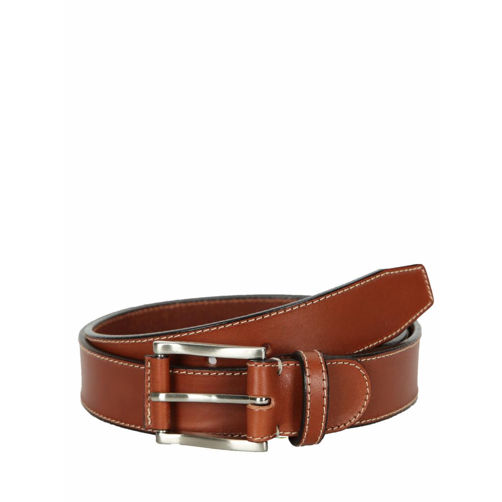 Cinturón piel pespunte hombre